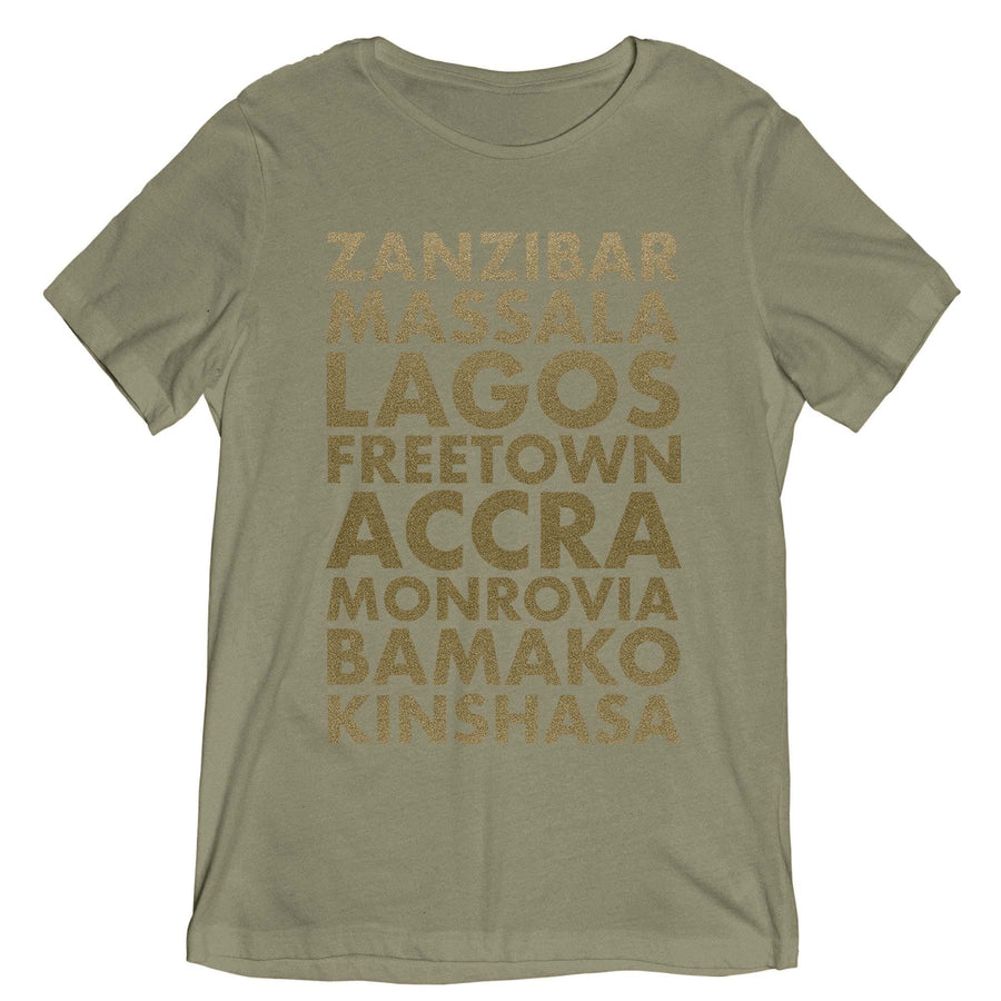 Light olive unisex T shirt with African Cities listed in gold text.