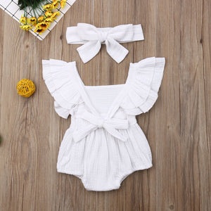 Sharni- 100% cotton double flutter cotton playsuit set