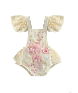 Peggie - Lace floral applique Playsuit