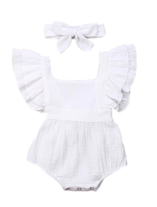 Sharni- double flutter cotton playsuit set