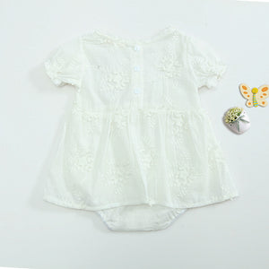 SALE-'Rai-lee'- embroidered light weight cotton playsuit- short sleeve