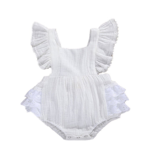 Kaylee - embroidery lace trim ruffle Playsuit