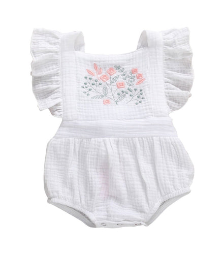 "SALE-'Arabella-Jane""-  Cotton embroidered playsuit- white"