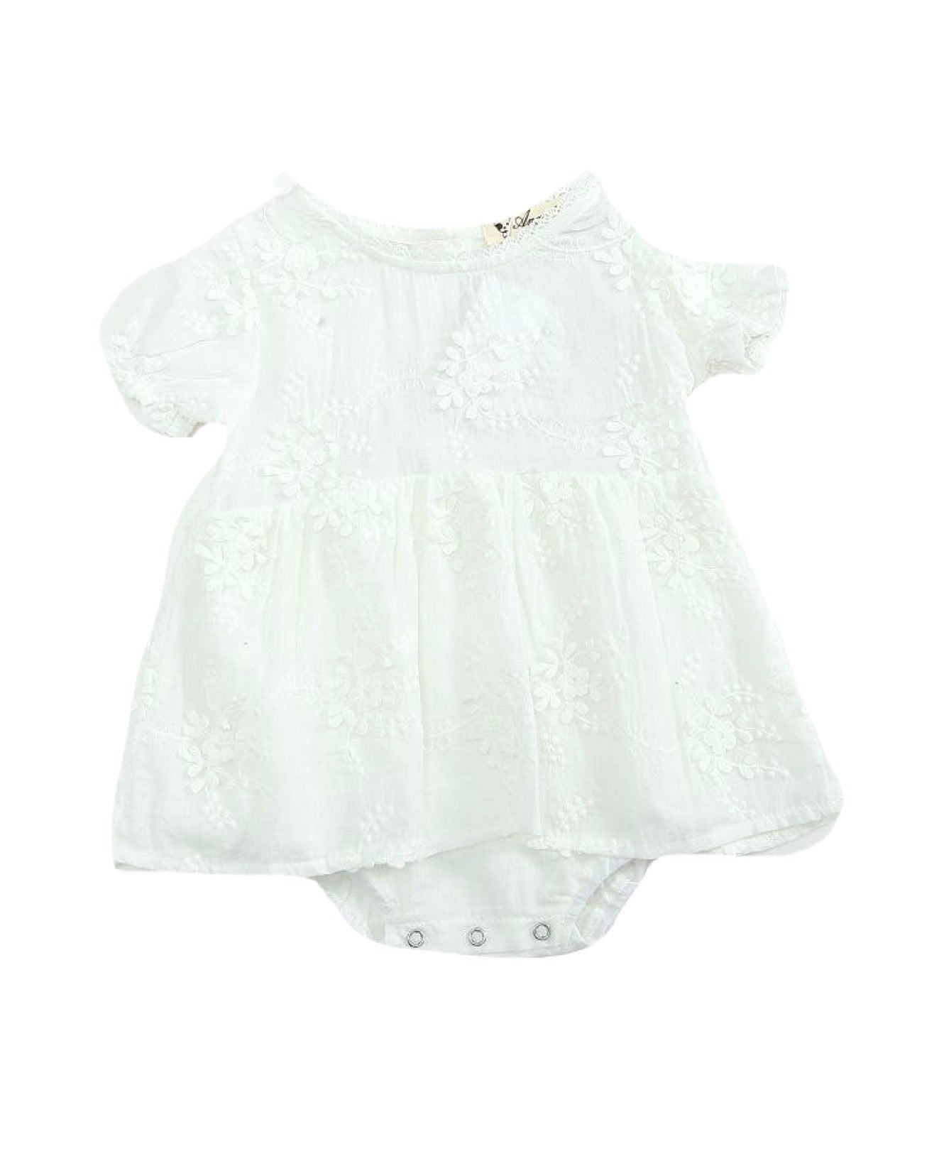 'Rai-lee'- embroidered light weight cotton playsuit- short sleeve