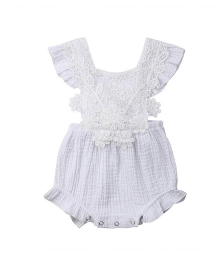 Justine- lace trim playsuit