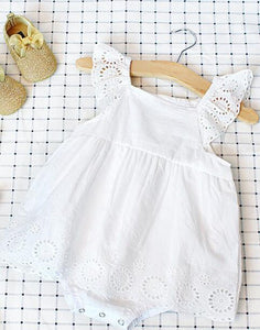 White embroi lace dress romper