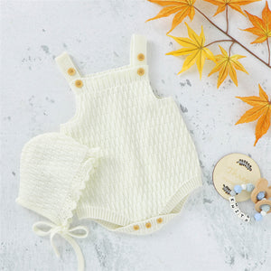 Eve - knit romper bonnet Set