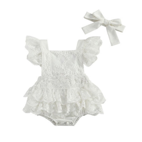 Delphine- Lace ruffle Playsuit Set