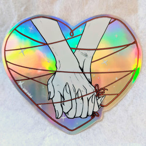 HOLOGRAPHIC STICKER – RED THREAD HEART