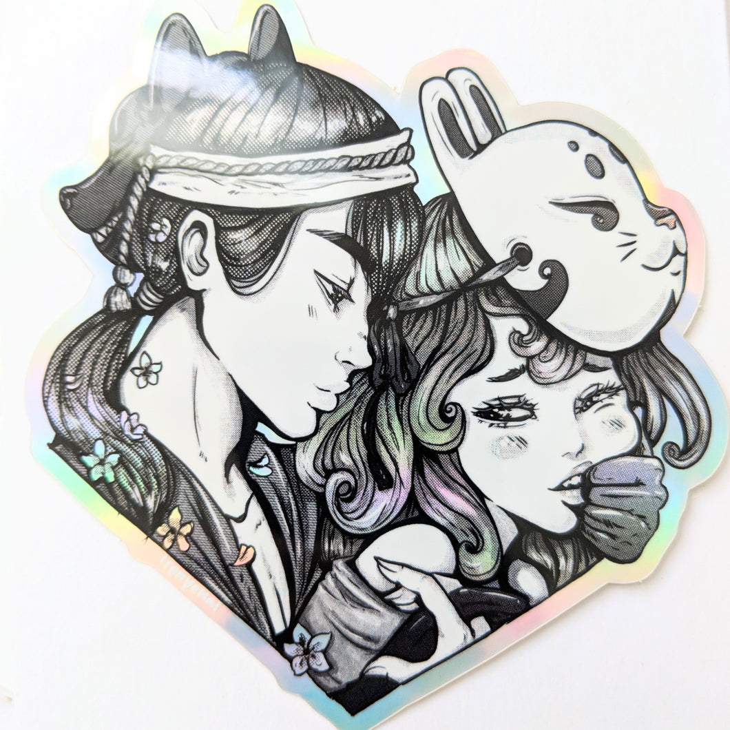 holographic sticker - wolf and rabbit