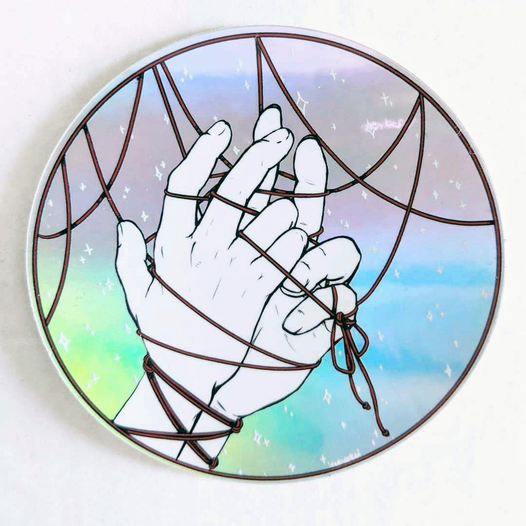 holographic sticker – red thread mercy