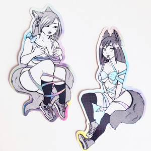 HOLOGRAPHIC STICKER PACK – RIBBON KITSUNE GIRLS
