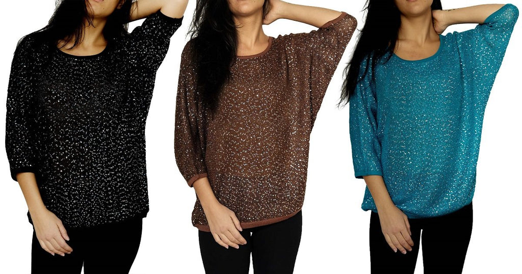 Women's 3/4 Dolman Sleeve Batwing Sequin Sweater