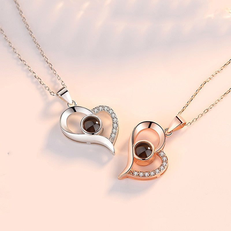 "100 Languages ""I Love You""  - Projection Heart Necklace"