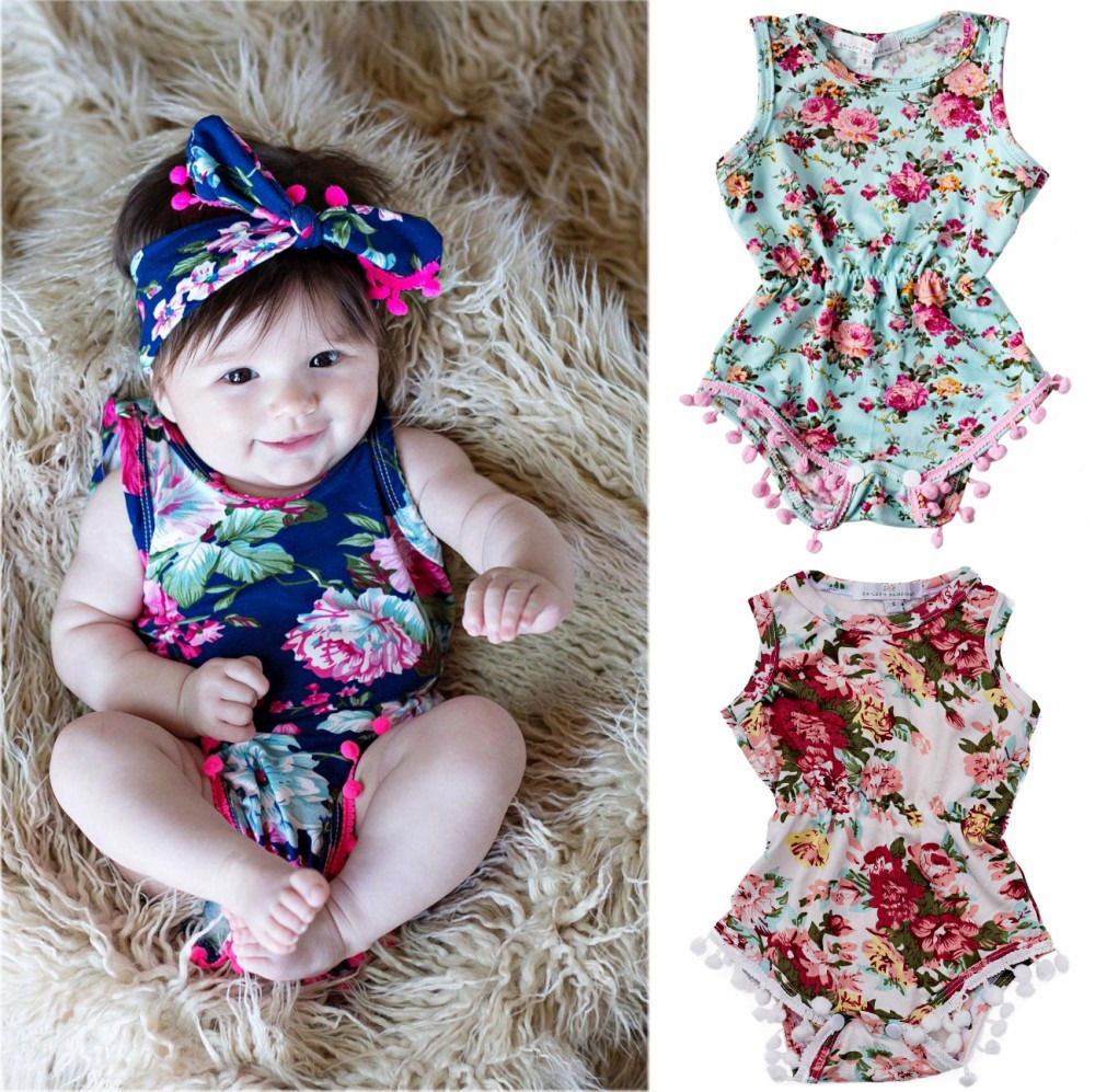 2016 Kids Newborn Toddler Baby Girls Floral Romper Jumpsuit Sunsuit