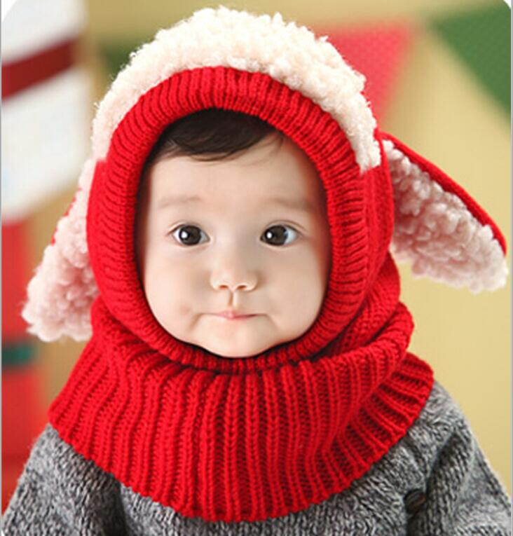 a24f16679c1 2017 Autumn Winter Warm Hat Boys Girls Baby Hat Scarf Set Lovely Knitted  Cotton Hats Scarves Fashion Kids Cartoon Cow Cap Collar