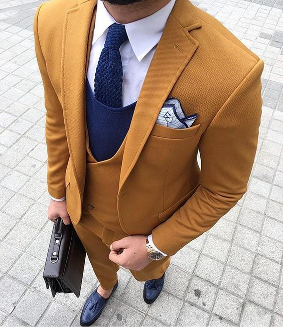 2017 Latest Coat Pant Designs Yellow Brown Double Breasted Men Suit