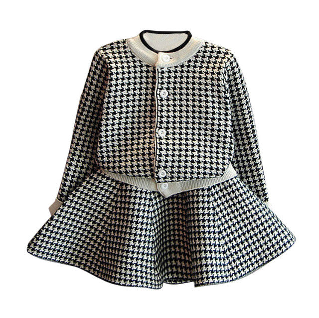 f2d1322812b7 2 PCS Girls set Toddler Kids Baby Girls Outfit Clothes Plaid Knitted ...