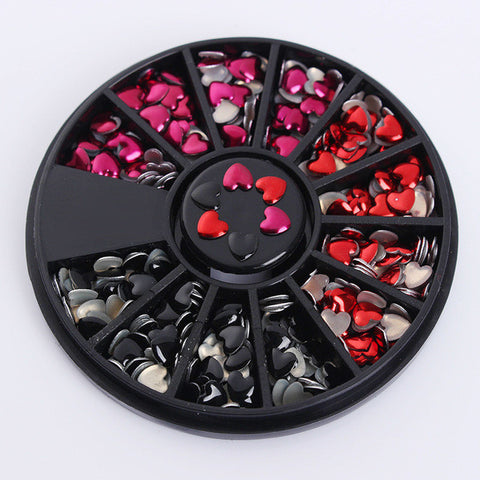 1 Box Mixed Color Rhinestone Heart Design 3D Nail Art Decoration in Wheel Manicure DIY Nail Art Decoration