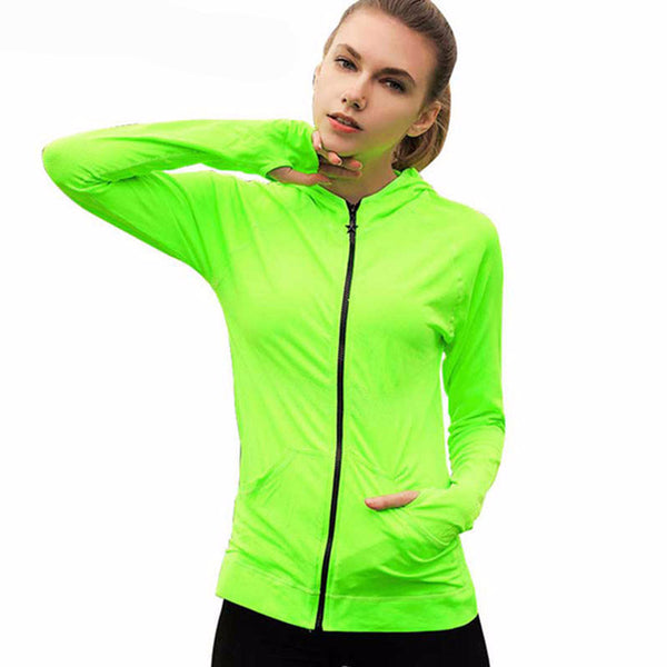 RUNNING ZIP-UP HOODIE WITH WRISTLETS