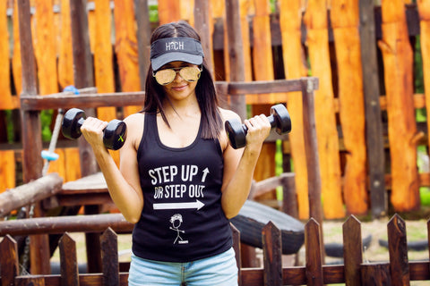 Ladies Racerback Gym Vest - Step Up Or Step Out
