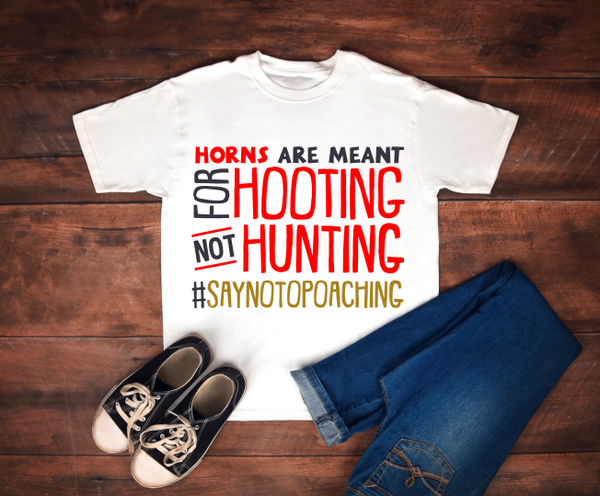 Kids T-shirt - Horns Are Meant For Hooting, Not Hunting