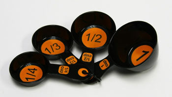 4-Piece Measuring Cup Set Orange and Black