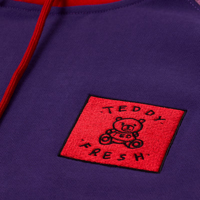 Purple Red Color Block Hoodie