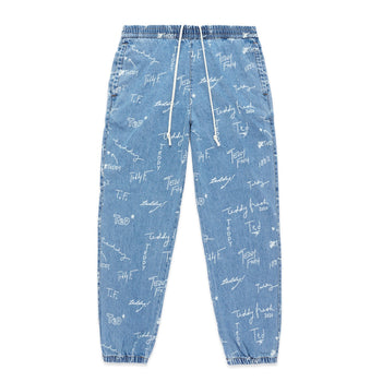 Denim Elastic Waist Pants