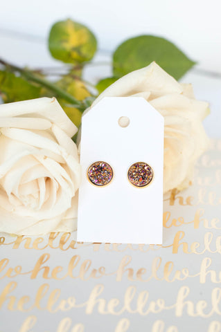 Rose Gold Faux Druzy w/ Gold Bezels Studs