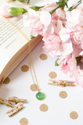 Emerald Green w/ Gold Bezel Faux Druzy Necklace