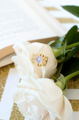 Gold Filigree Lace Adjustable Ring w/ Lavender Druzy Stone