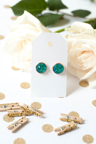 Teal w/ Rose Gold Faux Druzy Studs