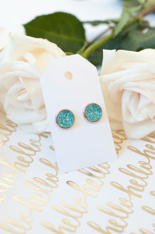 Turquoise w/ Rose Gold Faux Druzy Studs