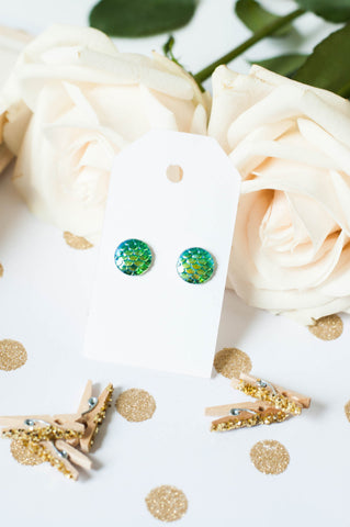 Green Mermaid Scale Studs