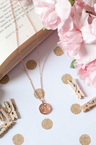 Champagne w/ Rose Gold Bezel Faux Druzy Necklace