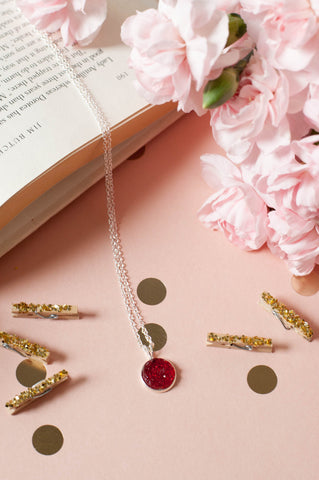 Ruby Red w/ Silver Bezel Faux Druzy Necklace
