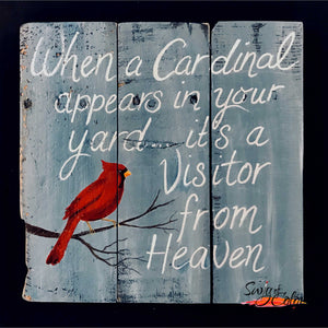 "Sip and Paint - ""Visitor from Heaven"" pallet board sign"