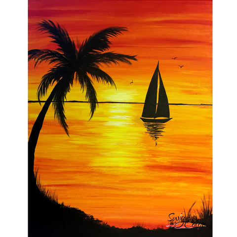 "Tin Roof Sip and Paint - ""Sunset Sail"