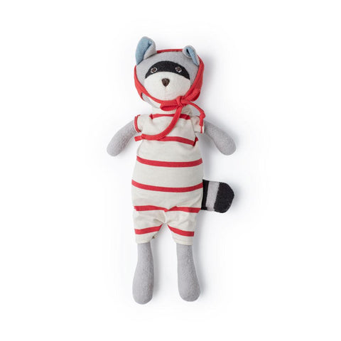 Max Raccoon in Cozy Lodge Romper & Red Bonnet