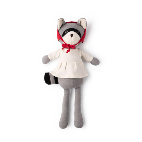 Gwendolyn Raccoon in Natural Tunic and Red Bonnet