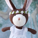 Zoe Rabbit in Spring White Linen Dress and Flower Crown