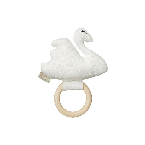 Swan Rattle on Wooden Ring