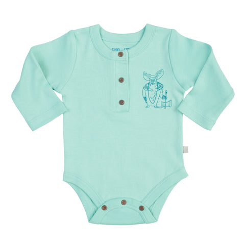 Long Sleeve Pool Blue Onesie with Viking