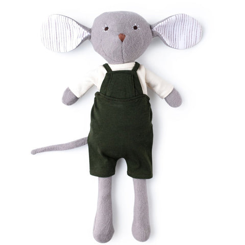 Oliver Mouse in Natural Shirt and Picnic Overalls
