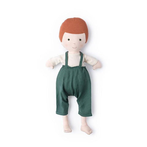 Charlie in Natural Shirt and River Green Linen Overalls