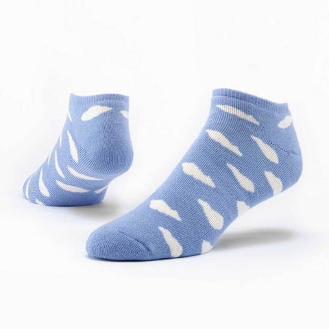 Footie Sock - Baby Blue w/ White Clouds