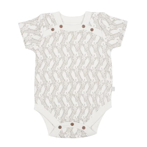 Short Sleeved Bodysuits - Giraffe