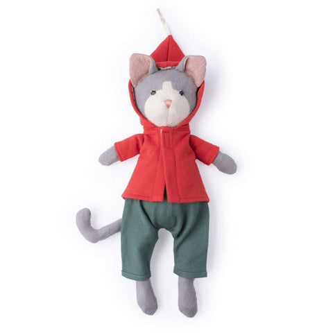 Gracie Cat in Cranberry Elf Jacket and River Green Linen Overalls