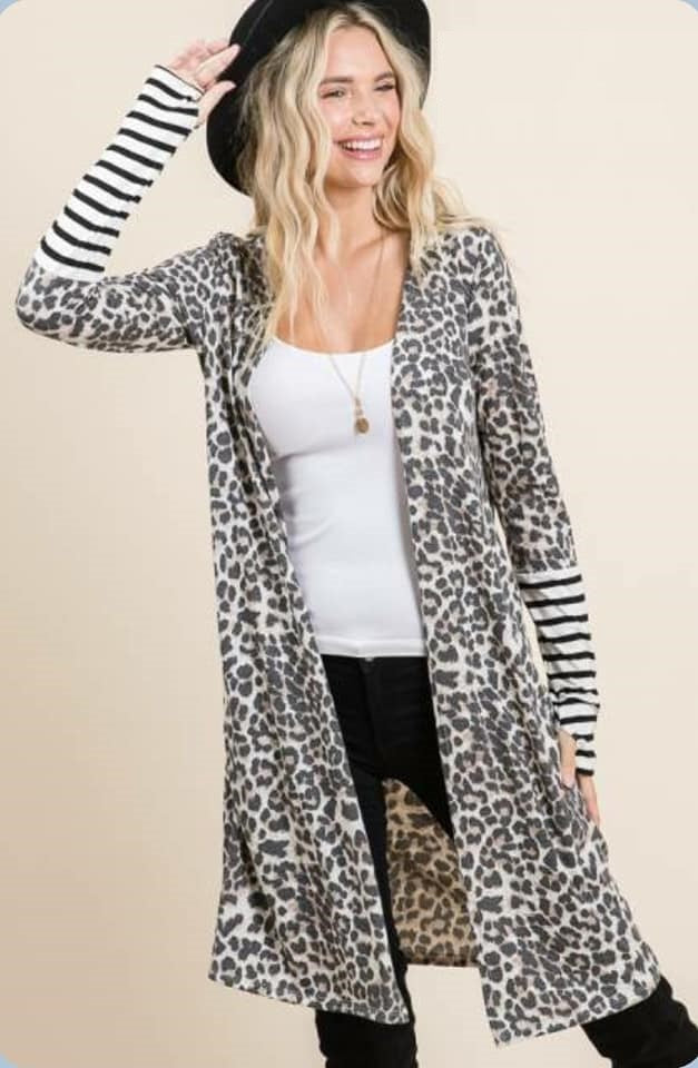 Leopard and Striped Cardigan